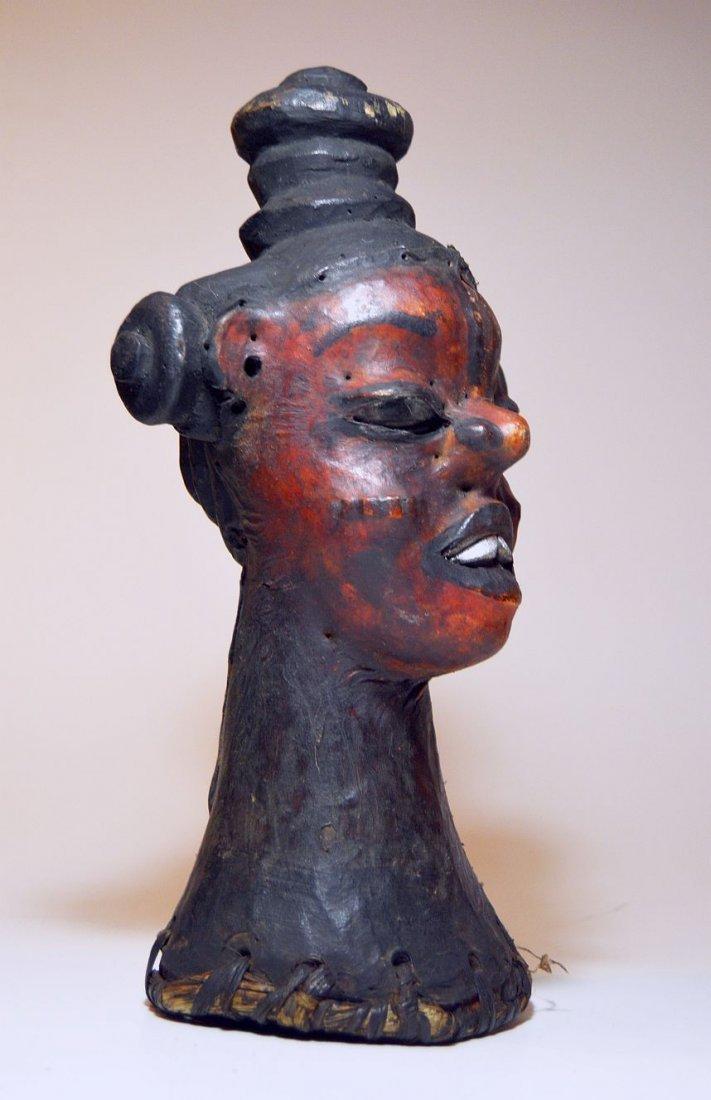 Rare Ekoi Skin Covered Headdress, African Tribal Art - 3