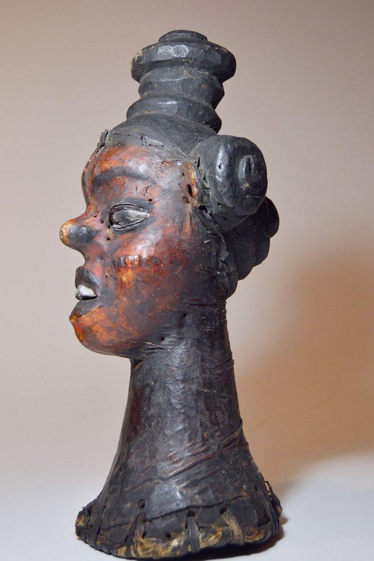 Rare Ekoi Skin Covered Headdress, African Tribal Art - 6