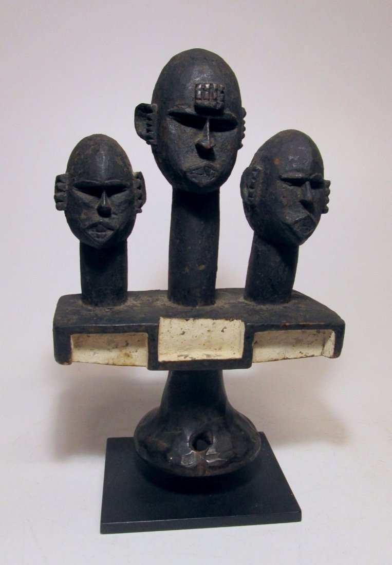 Rare Ibibio headdress w/ 3 Ancestor heads, African Art
