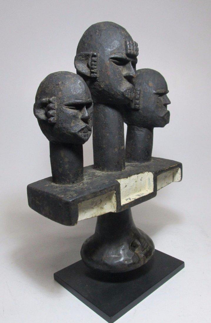 Rare Ibibio headdress w/ 3 Ancestor heads, African Art - 3
