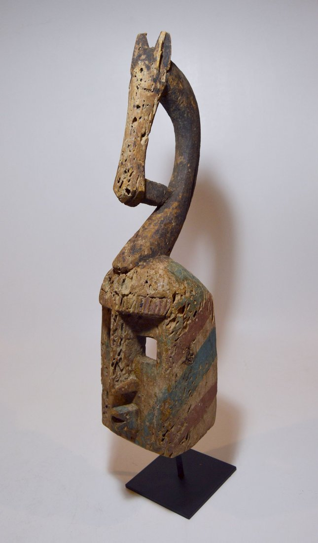 Colorful Dogon African mask w/ Equestrian Finial