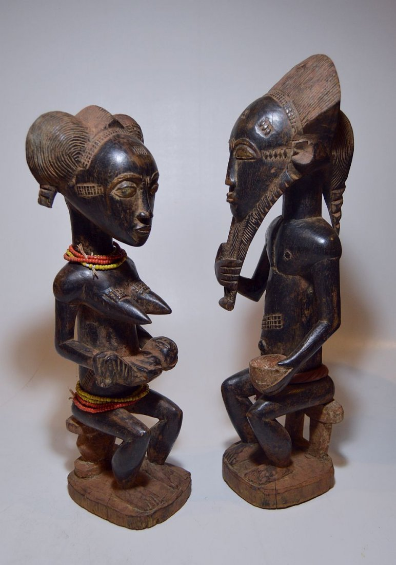 A Fine Baule Male & Female Spirit couple ~ African Art