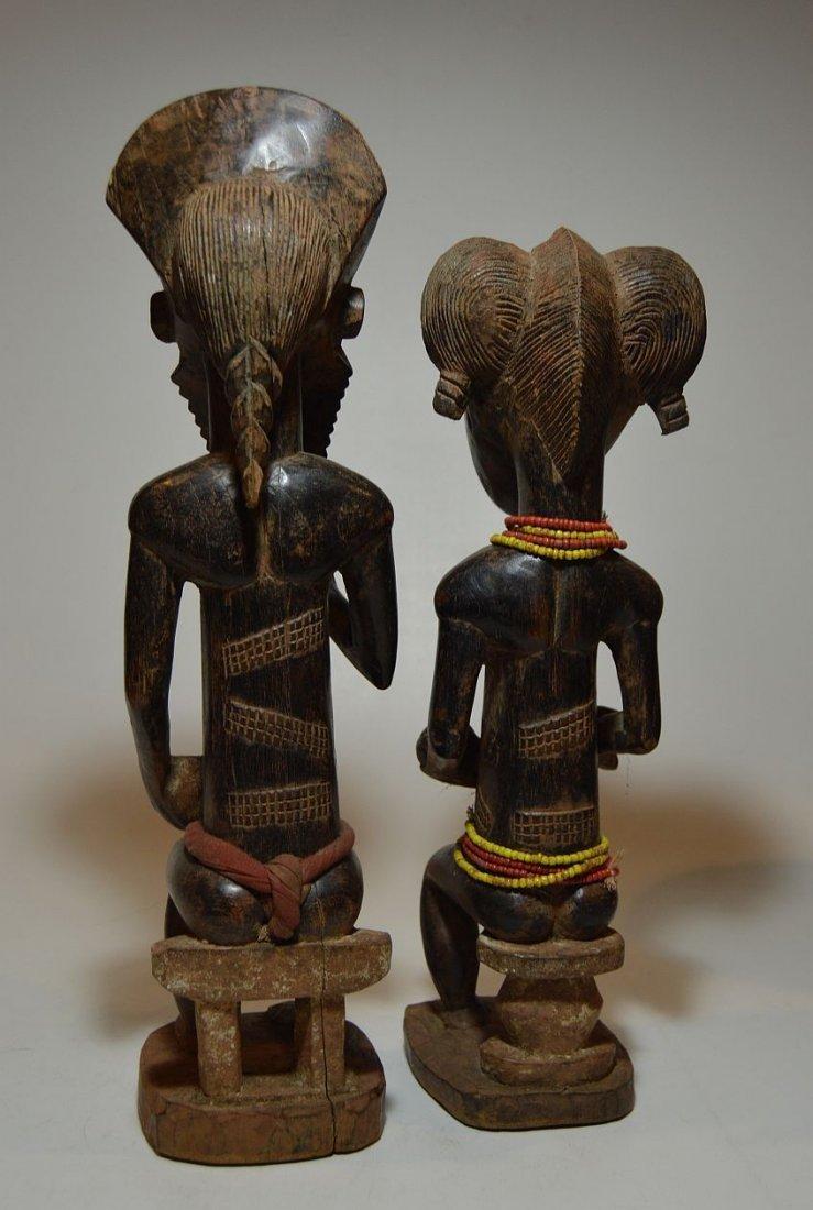 A Fine Baule Male & Female Spirit couple ~ African Art - 3