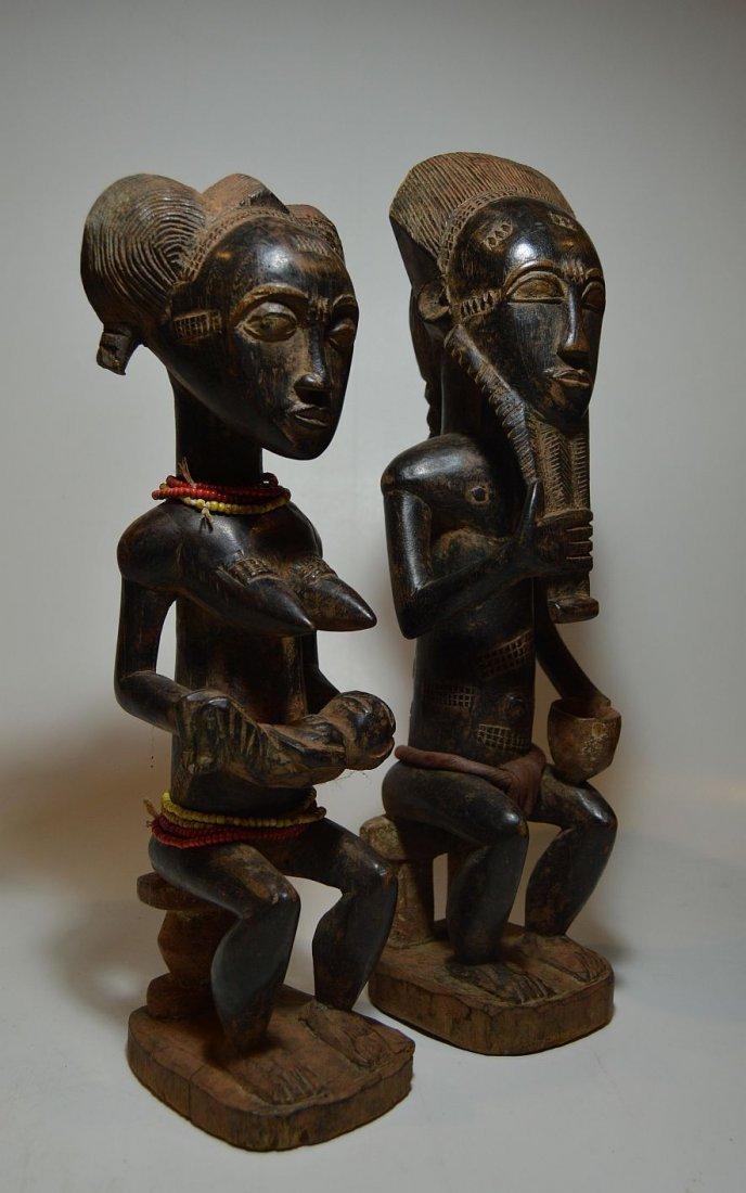 A Fine Baule Male & Female Spirit couple ~ African Art - 4