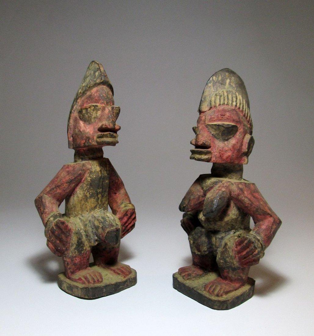 Pair of Red Idols from Yoruba of Nigeria African Art