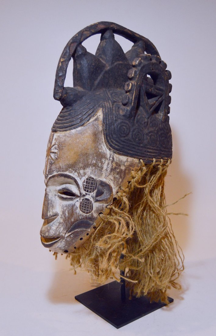 Vintage Igbo Maiden Spirit African mask w/ ornate crest