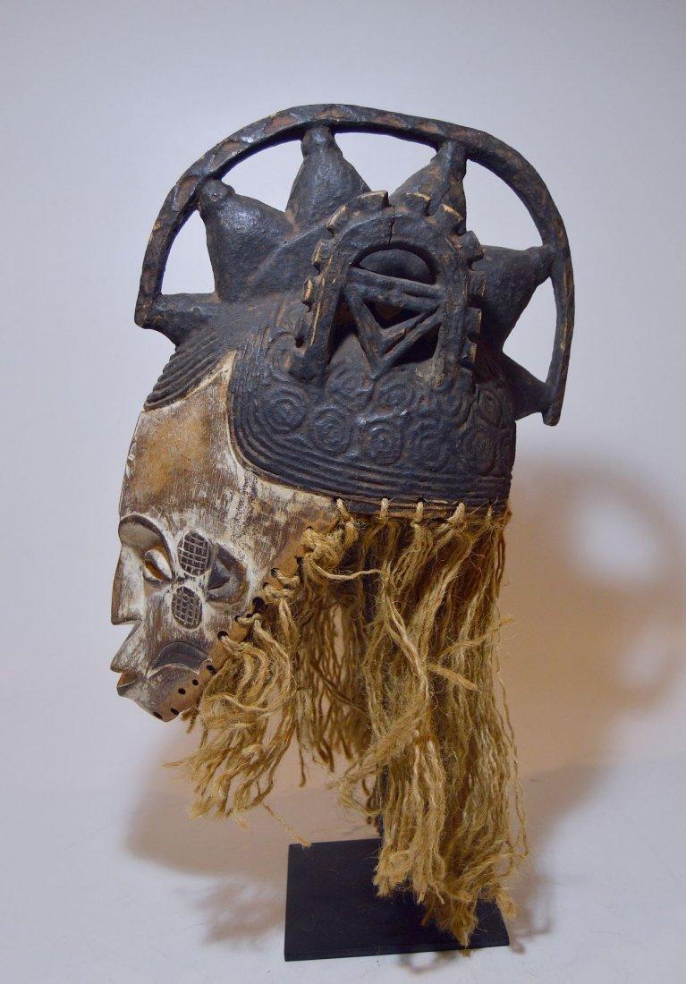 Vintage Igbo Maiden Spirit African mask w/ ornate crest - 2