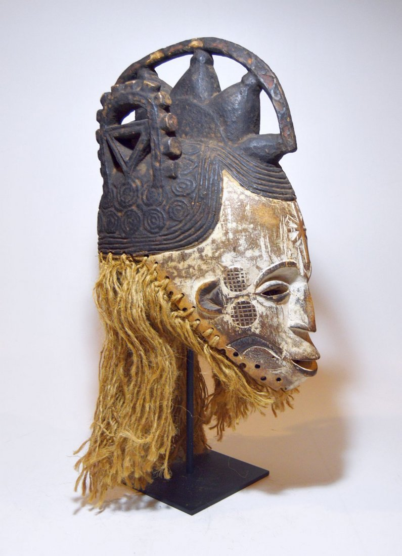 Vintage Igbo Maiden Spirit African mask w/ ornate crest - 3