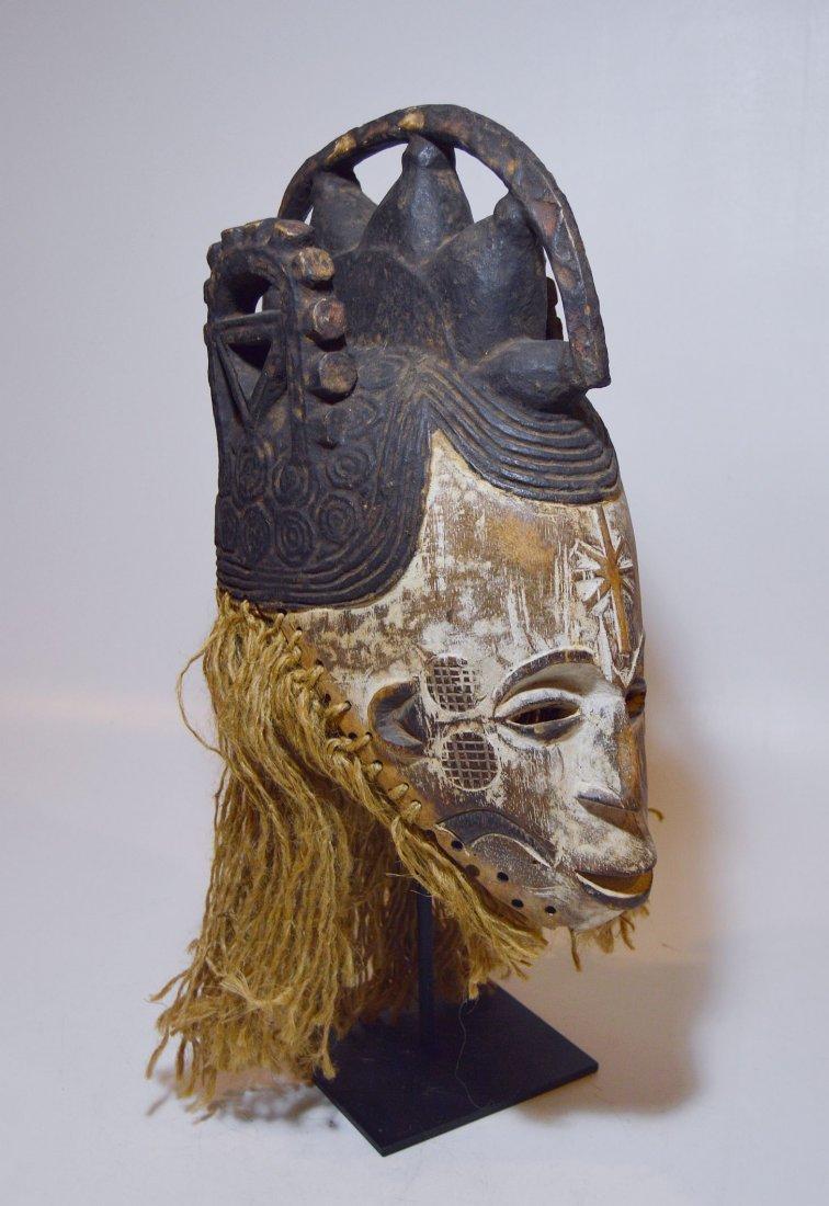Vintage Igbo Maiden Spirit African mask w/ ornate crest - 4
