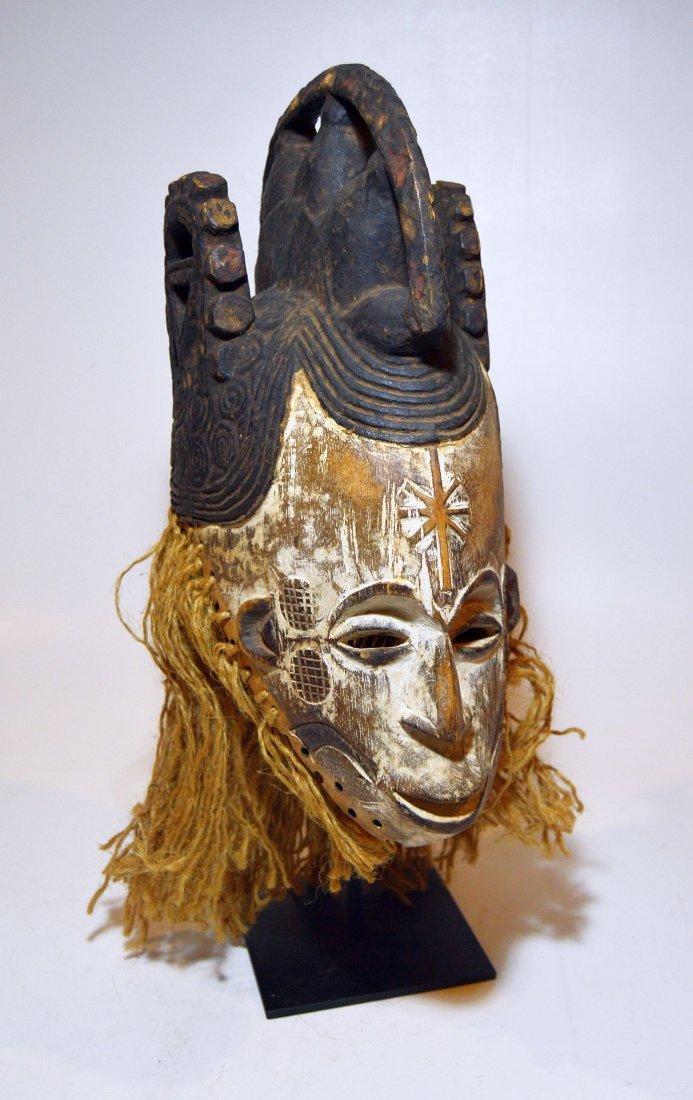 Vintage Igbo Maiden Spirit African mask w/ ornate crest - 5