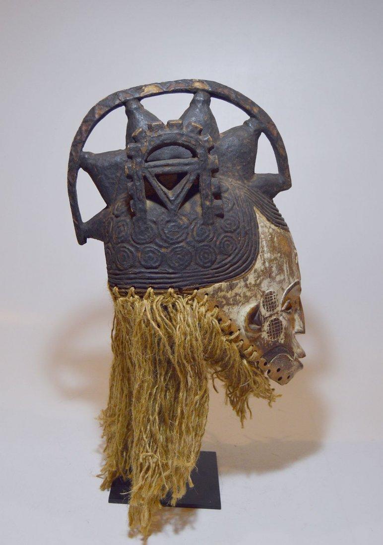 Vintage Igbo Maiden Spirit African mask w/ ornate crest - 6