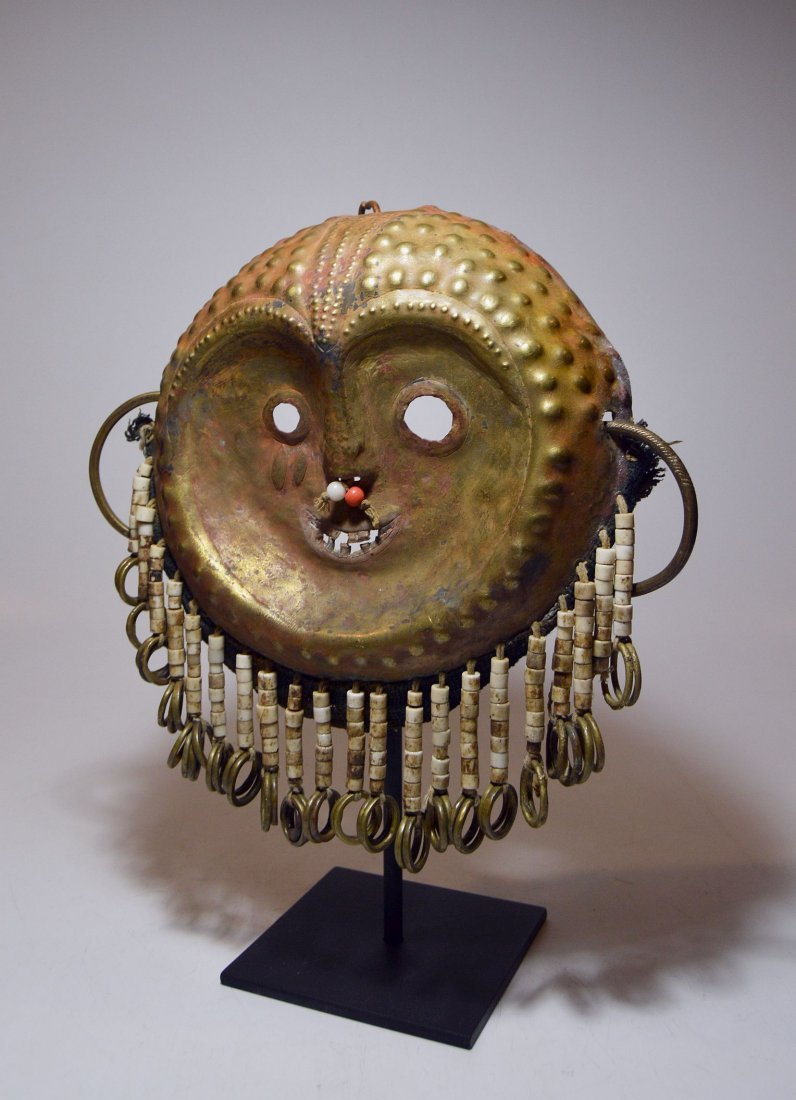 A Rare Kwese Brass Mask with adornment, African mask
