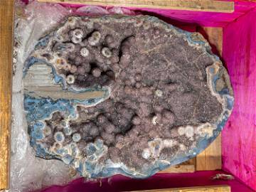 Natural Druze Quartz Geode with Stalactite and Agate