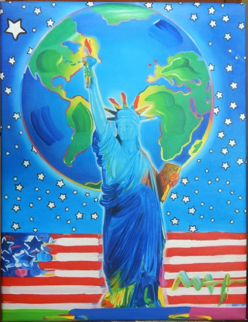 """PETER MAX """"PEACE ON EARTH"""" ACRYLIC ON CANVAS"""