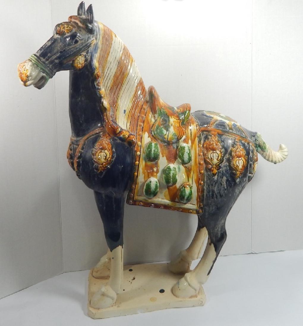 CHINESE LARGE TANG SANCAI TEMPLE HORSE SCULPTURE
