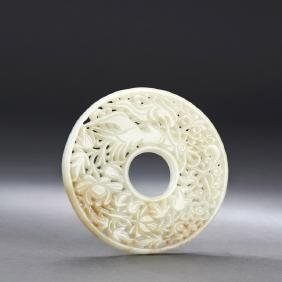 Chinese Pierced White Jade Carved Bi-disk