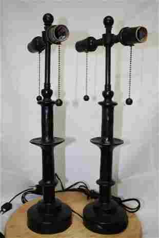 DIEGO GIACOMETTI SIGNED BRONZE LAMPS