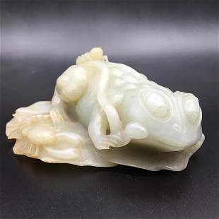 CHINESE WHITE JADE CARVING OF FIVE ANIMALS