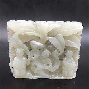 CHINESE WHITE JADE OPEN WORK CARVING OF THREE BOYS