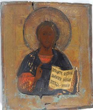 ANTIQUE RUSSIAN JESUS CHRIST HAND PAINTED ICON