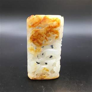 CHINESE WHITE AND RUSSET JADE DEER PENDANT