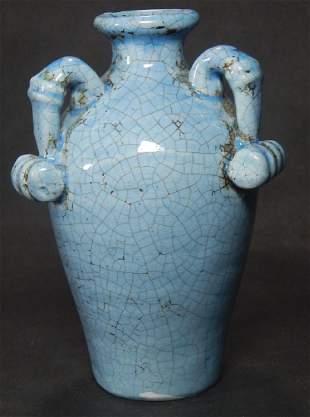 CHINESE BLUE GLAZED CRACKLE HANDLED VASE
