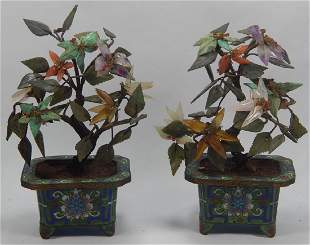PAIR CHINESE REPUBLIC JADE TREES WCLOISONNE BASES