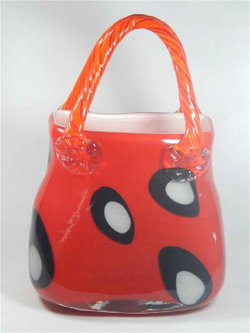 Large Murano Art Glass Handbag Vase