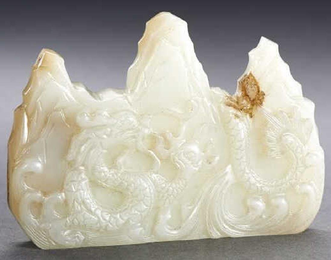 CHINESE WHITE JADE CARVED MOUNTAIN BRUSH REST
