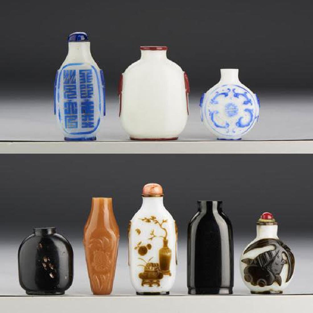 8 FINE CHINESE MISC SNUFF BOTTLE COLLECTION