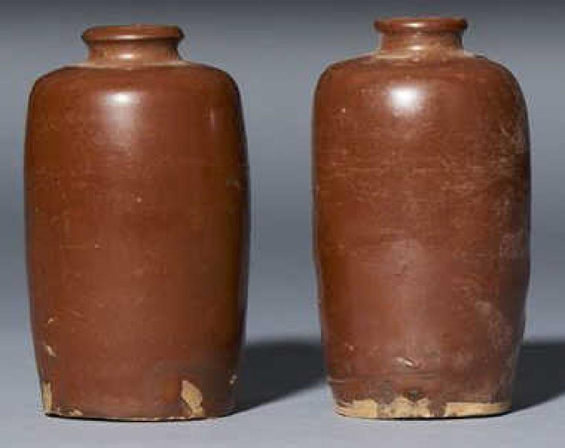 PAIR CHINESE ANTIQUE BROWN GLAZED VASES