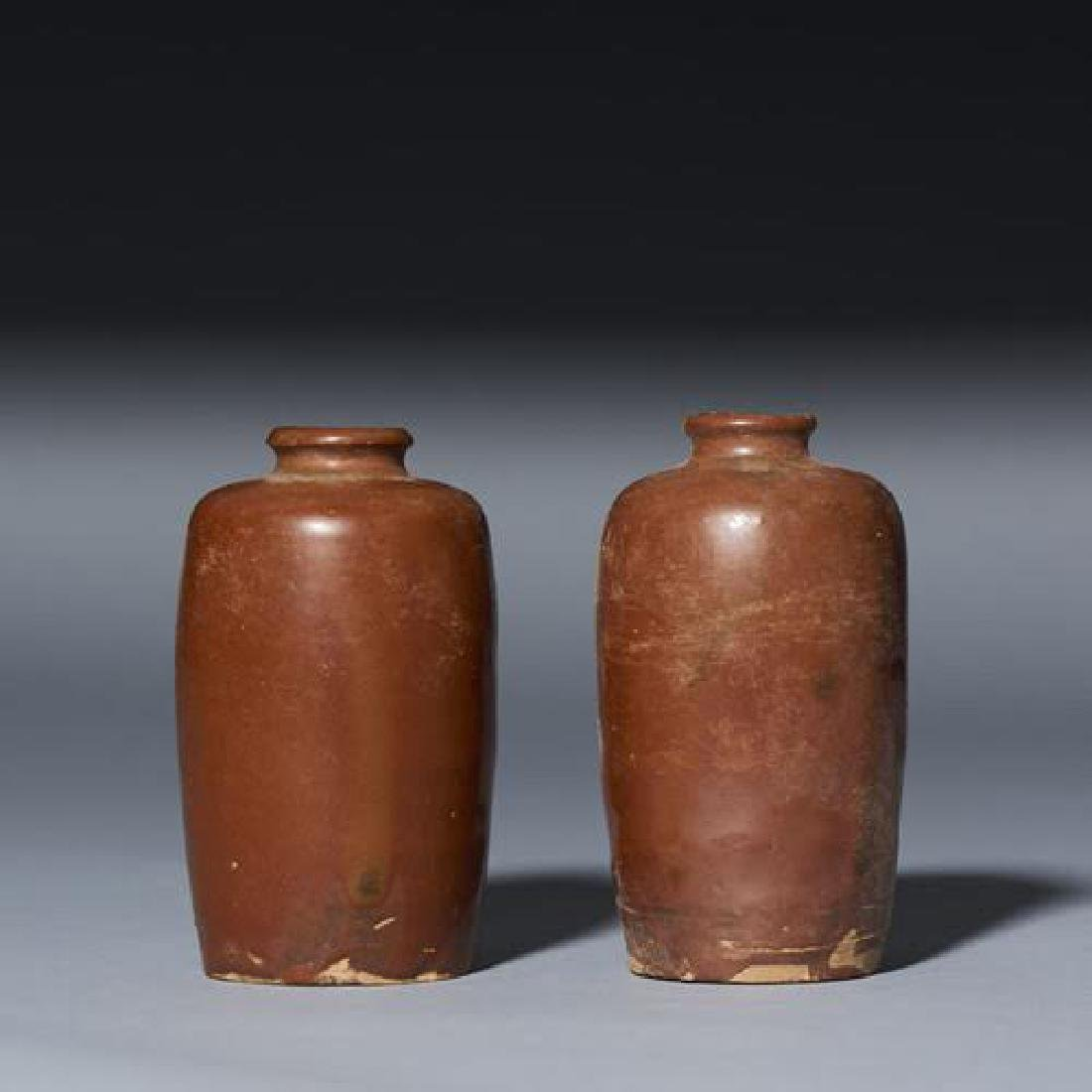 PAIR CHINESE ANTIQUE BROWN GLAZED VASES - 4