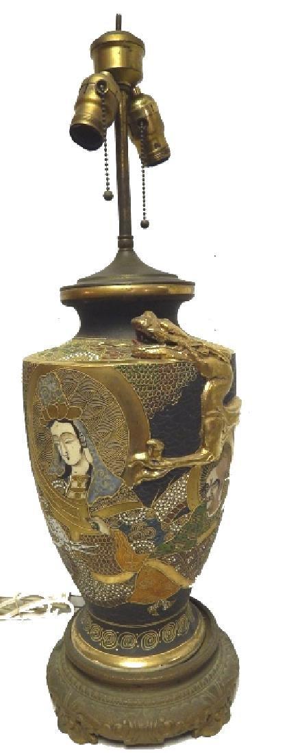 ANTIQUE JAPANESE SATSUMA PORCELAN LAMP