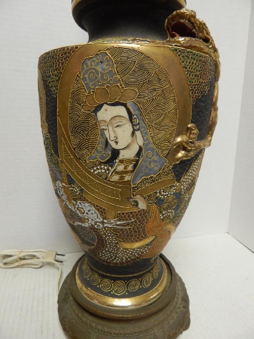 ANTIQUE JAPANESE SATSUMA PORCELAN LAMP - 2