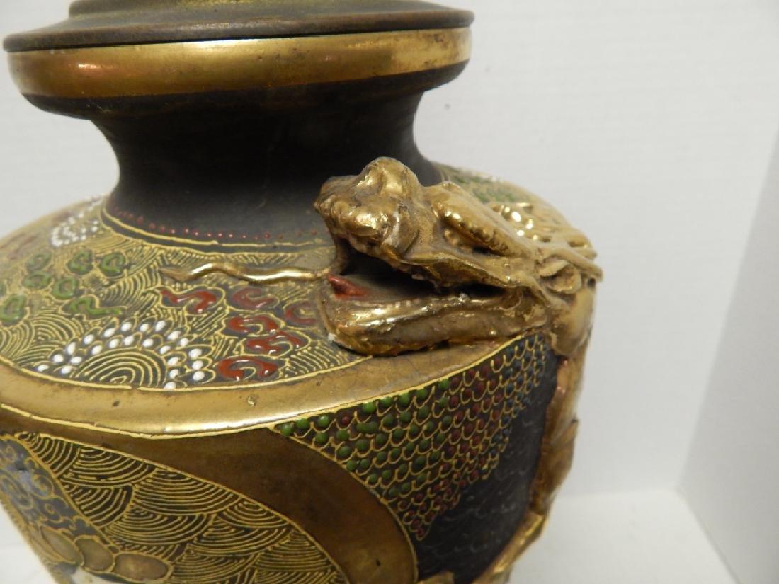 ANTIQUE JAPANESE SATSUMA PORCELAN LAMP - 3