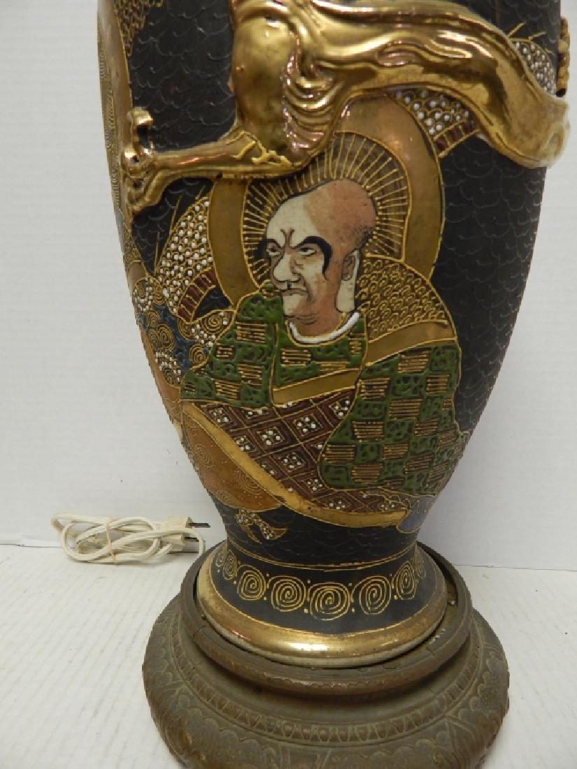 ANTIQUE JAPANESE SATSUMA PORCELAN LAMP - 4