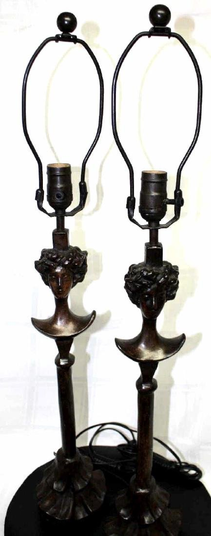 PAIR DIEGO GIACOMETTI SIGNED BRONZE LAMPS