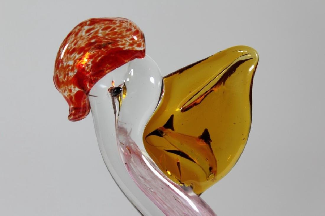 MURANO ITALIAN ART GLASS PELICAN SCULPTURE - 4