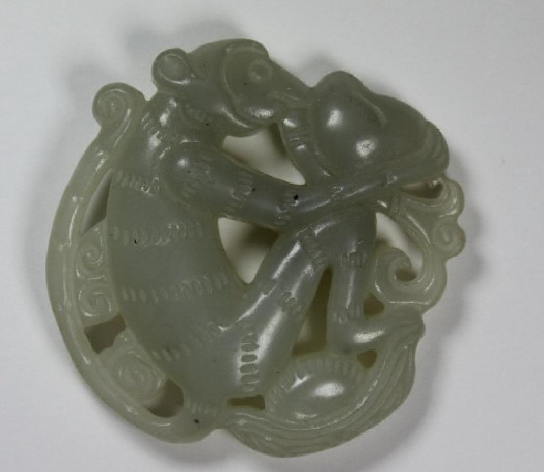 CHINESE CARVED JADE MONKEY PENDANT - 2
