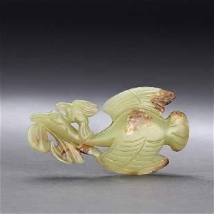 CHINESE ANTIQUE YELLOW JADE GOOSE