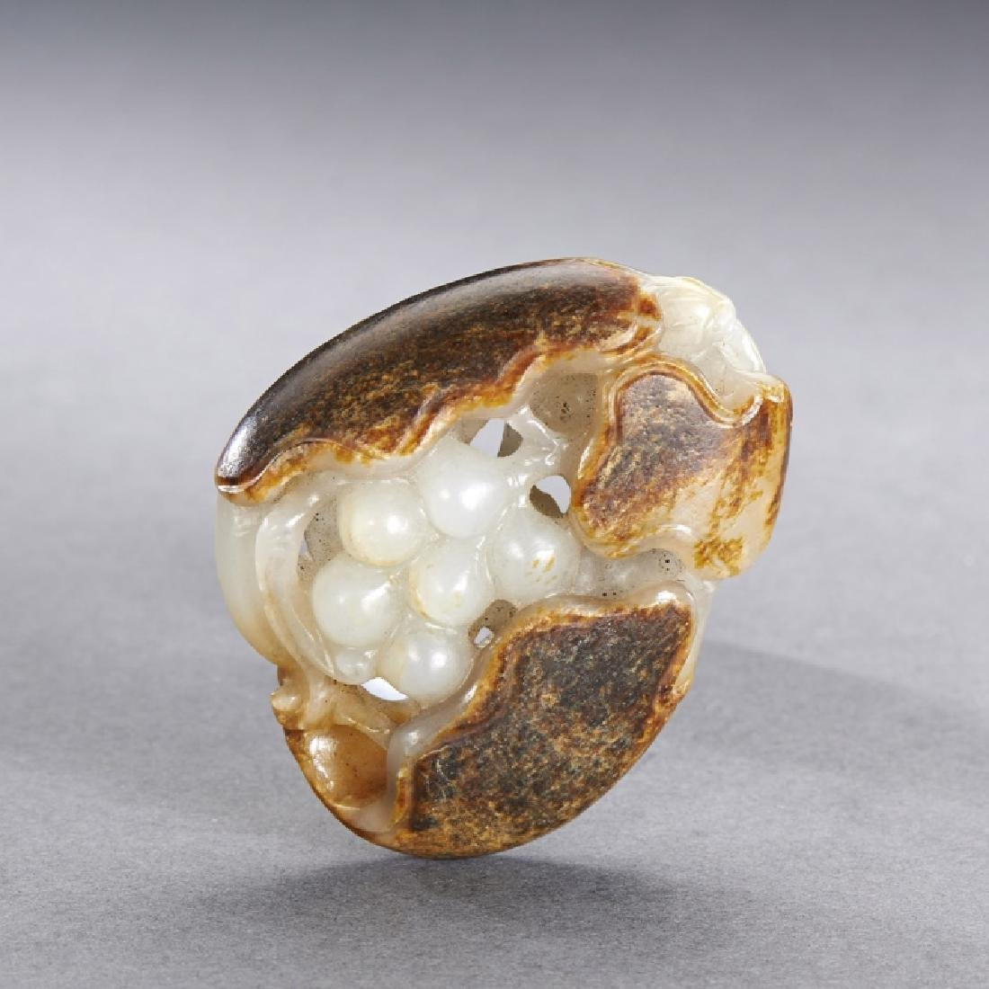 CHINESE WHITE AND RUSSET JADE  PENDANT