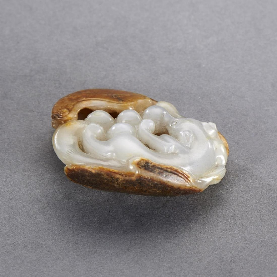 CHINESE WHITE AND RUSSET JADE  PENDANT - 3