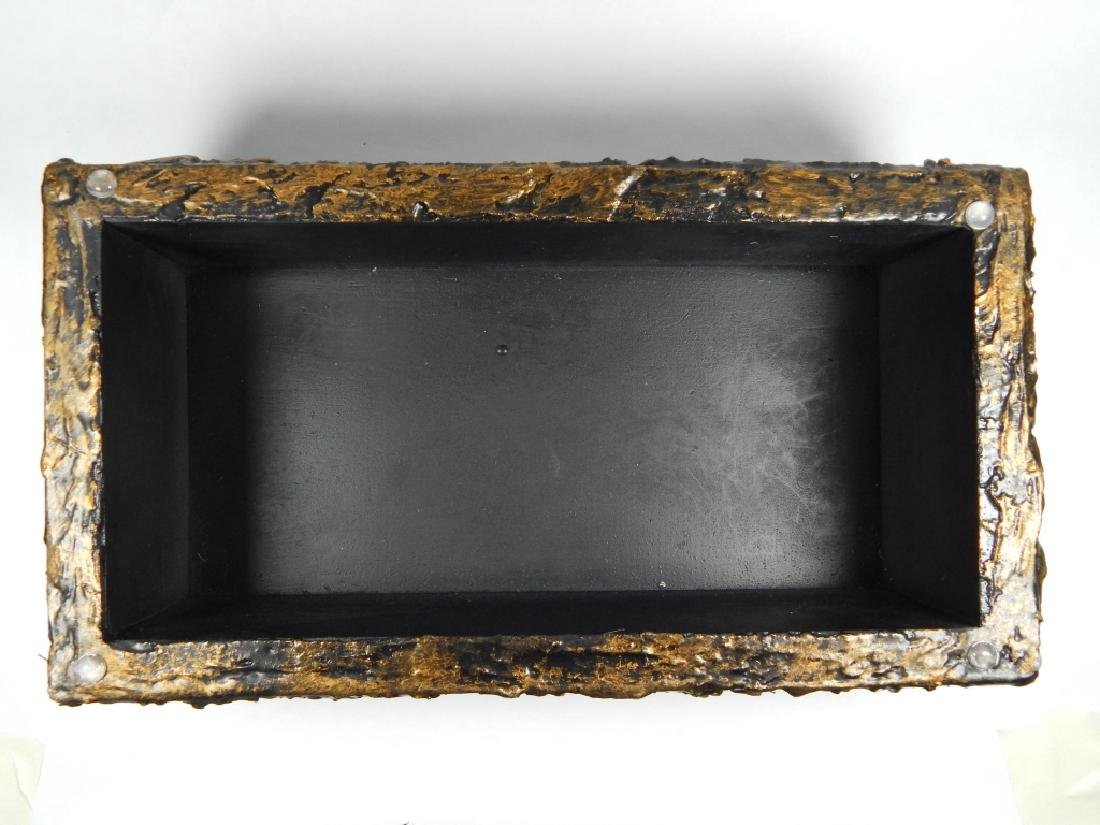 PAUL EVANS SCULPTED BRONZE RESIN LIDDED BOX - 4