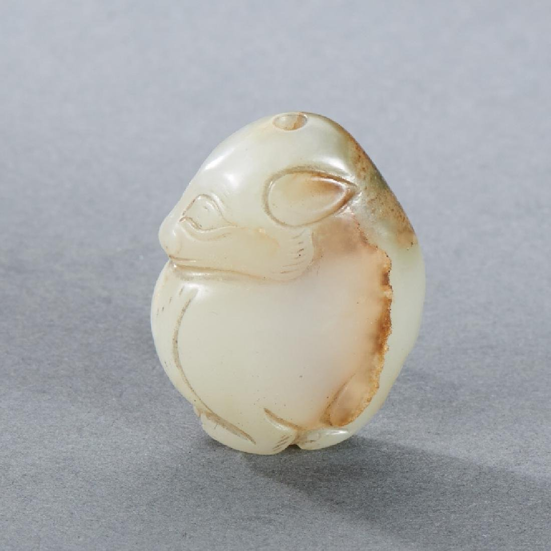 CHINESE WHITE AND RUSSET JADE BEAR CARVING - 2