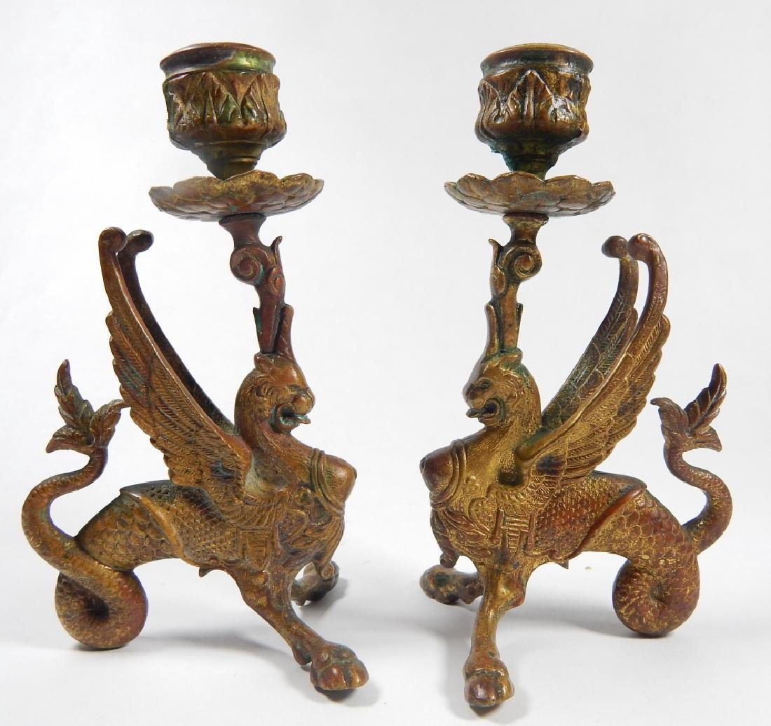 PAIR BRONZE GRIFFIN CANDLESTICK HOLDERS