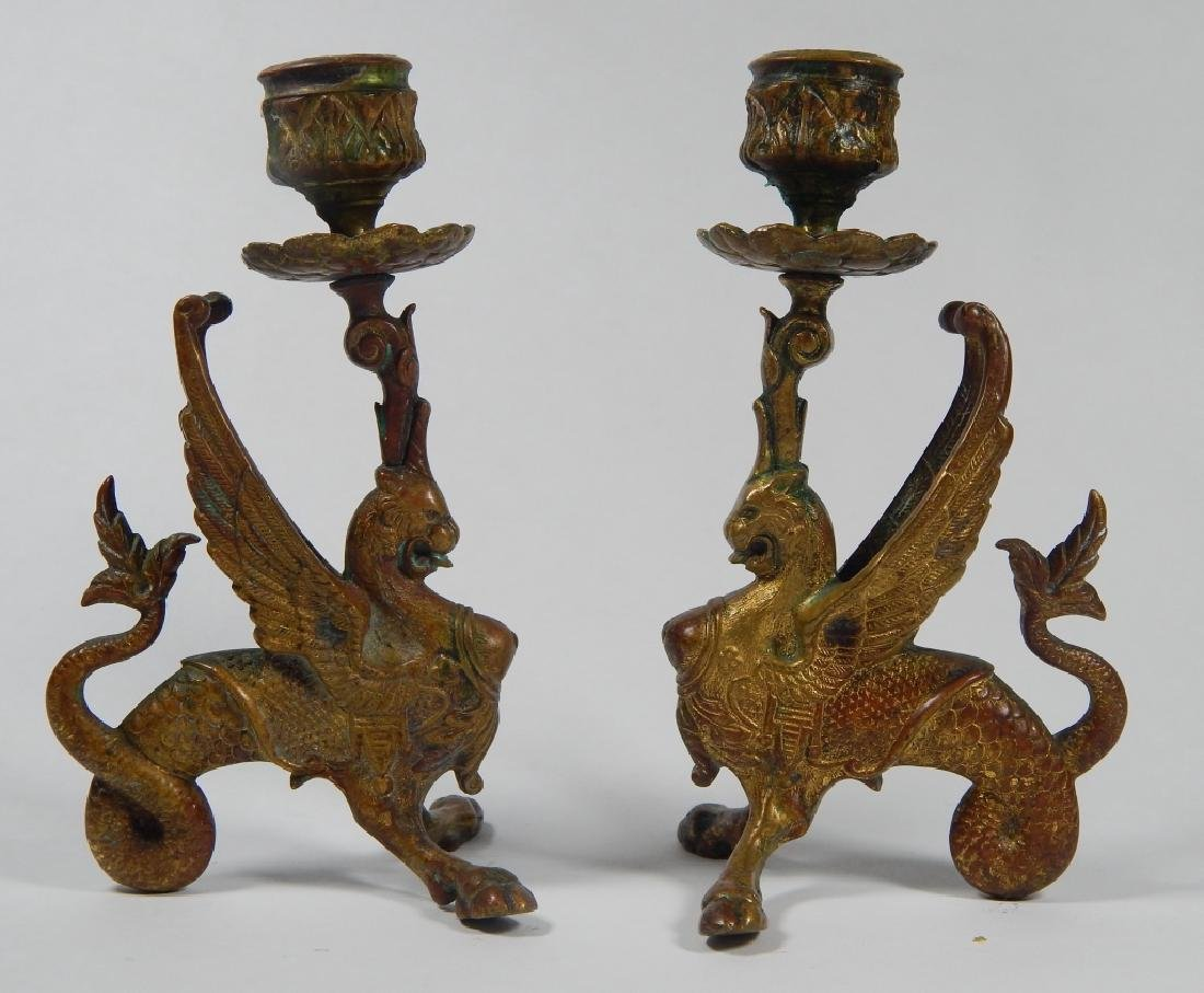 PAIR BRONZE GRIFFIN CANDLESTICK HOLDERS - 2
