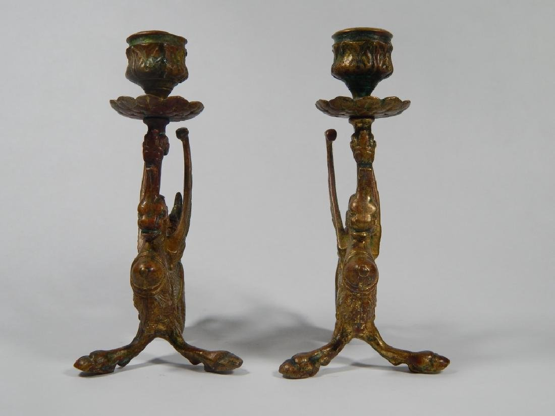 PAIR BRONZE GRIFFIN CANDLESTICK HOLDERS - 3