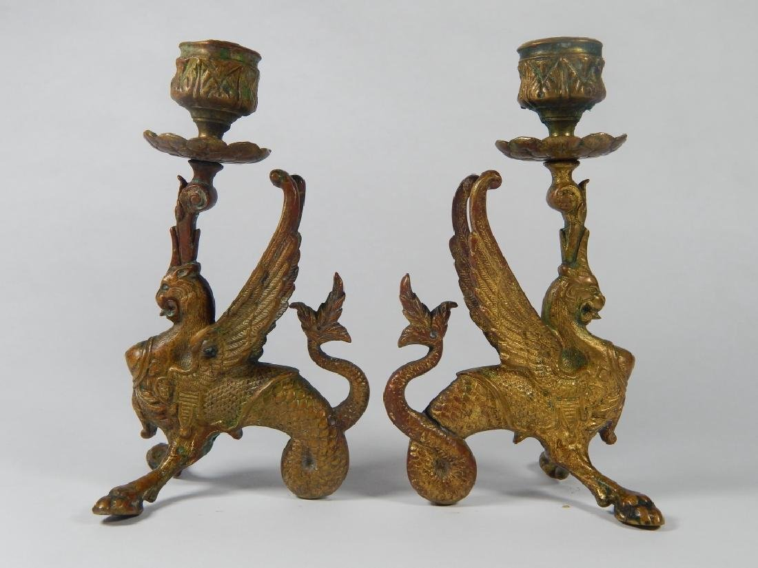 PAIR BRONZE GRIFFIN CANDLESTICK HOLDERS - 4
