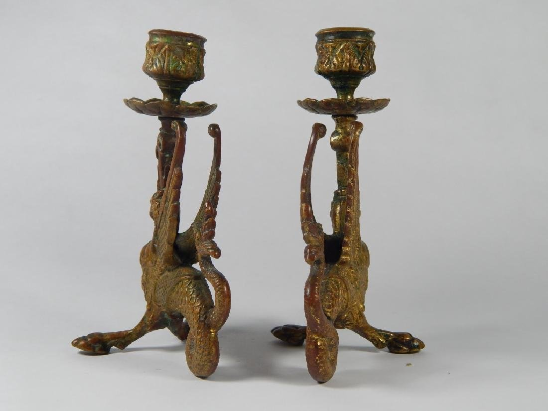 PAIR BRONZE GRIFFIN CANDLESTICK HOLDERS - 5