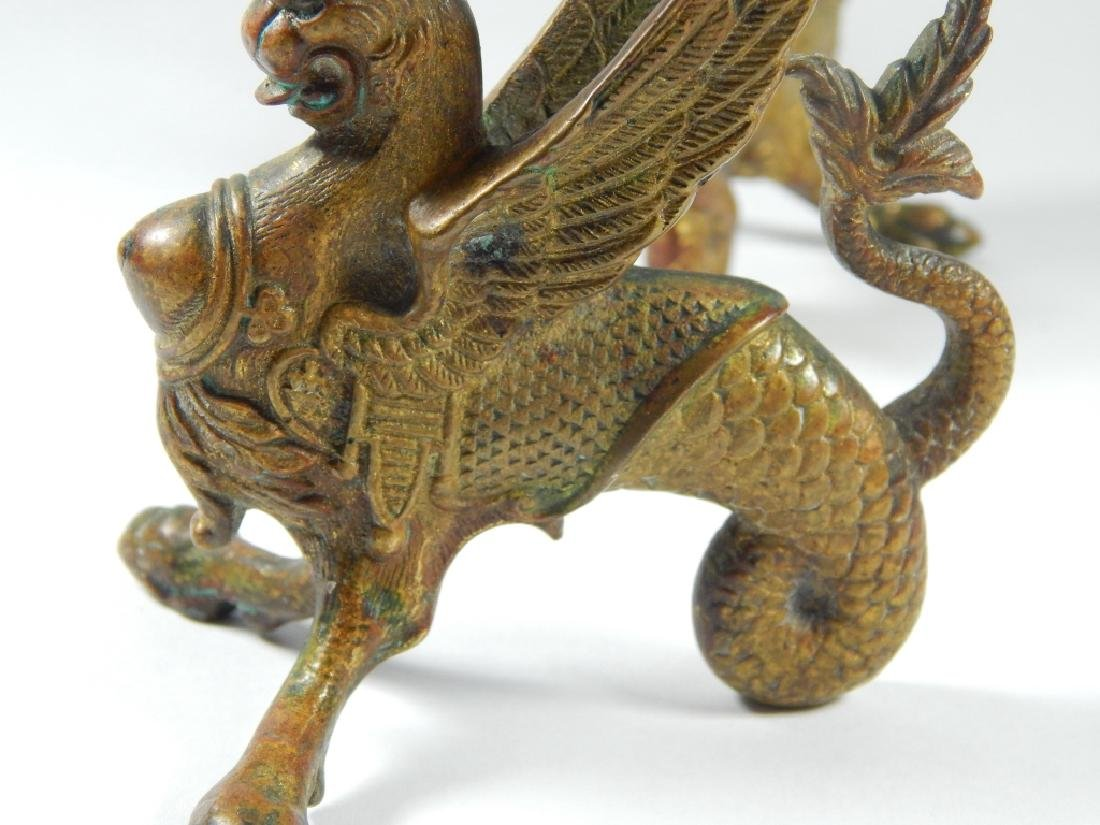 PAIR BRONZE GRIFFIN CANDLESTICK HOLDERS - 6
